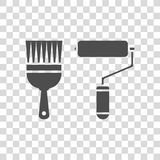 Paint roller and paint brush vector icon. Color illustration paint roller and paint brush vector icon Stock Photography