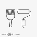 Paint roller and paint brush vector icon. On grey background Stock Photos