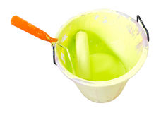 Paint-roller and Paint bucket Stock Photo