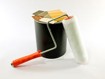 Paint Roller, Paint Can, Paint Samples Royalty Free Stock Photos