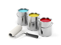 Paint roller and paint canisters Stock Images