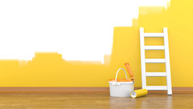Paint, roller for a paint and a ladder near a wall Royalty Free Stock Photos