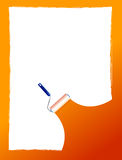 Paint roller and paint stripe frame. illustration Royalty Free Stock Photography