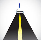 Paint roller painting a highway. illustration Stock Photography
