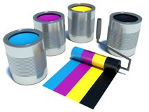 Paint roller. print and paint concept backgrounds Stock Images