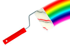 Paint roller and rainbow Royalty Free Stock Photos