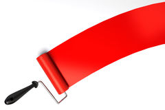 Paint roller and red paint Royalty Free Stock Photography