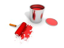 Paint roller, red paint can and splashing. 3D render of paint roller, red can and splashing Stock Photo