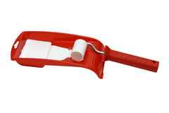 Paint roller and red tray Stock Image