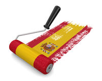 Paint roller with Spanish flag (clipping path included) Royalty Free Stock Image