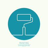 Paint roller. With a strip of paint and drops. For ads, promotion, announcement and advertising and mobile applications. Outline. minimal. Vector icon. logo Stock Images