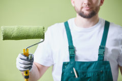 Paint roller to paint stock photos