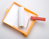 Paint roller and tray Stock Images