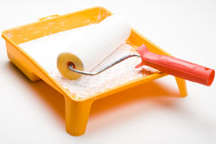 Paint roller and tray Royalty Free Stock Images