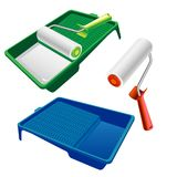 Paint roller and paint tray. Paint roller for interior painting works. vector illustration