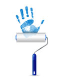 Paint roller and unique handprint illustration Royalty Free Stock Photography