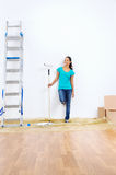Paint roller woman Royalty Free Stock Photo