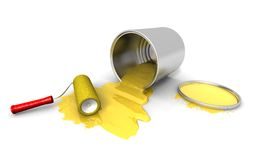Paint roller, yellow can and splashing. 3D render of paint roller, yellow can and splashing Stock Photography