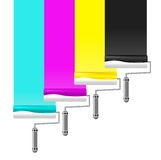 Paint rollers. Drawing CMYK stripes Stock Image