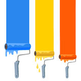 Paint rollers with colorful trace Stock Photography