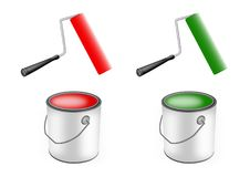 Paint rollers and paint cans. Pair of paint rollers and paint cans Royalty Free Stock Image
