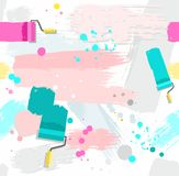 Paint rollers with paint, seamless background. Stock Photography