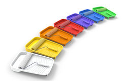 Paint Rollers and Trays Stock Photos