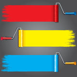 Paint Rollers with Various Paints on Wall. Vector Stock Photo