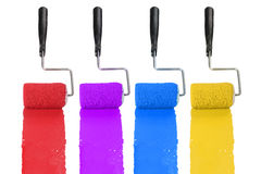 Paint Rollerswith Different Colors Stock Image