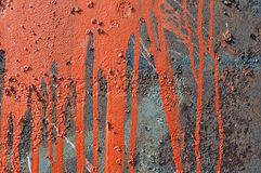Paint runs on rusty metal background. Spray-painted rusty metal background with splash and drips of orange stock images