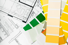 Paint sample and architecture blueprint Stock Image