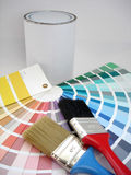 Paint samples. Brush and paint Royalty Free Stock Image