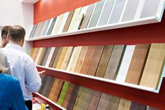 Paint samples on wooden panels in store. Paint samples on wooden panels in the building store Stock Photography
