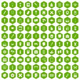 100 paint school icons hexagon green. 100 paint school icons set in green hexagon isolated vector illustration Stock Photo