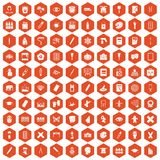 100 paint school icons hexagon orange. 100 paint school icons set in orange hexagon isolated vector illustration Royalty Free Stock Images