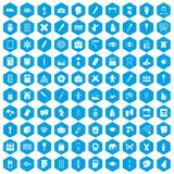 100 paint school icons set blue. 100 paint school icons set in blue hexagon isolated vector illustration Vector Illustration