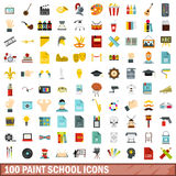 100 paint school icons set, flat style Stock Image