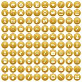 100 paint school icons set gold. 100 paint school icons set in gold circle isolated on white vectr illustration Vector Illustration