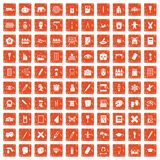 100 paint school icons set grunge orange. 100 paint school icons set in grunge style orange color isolated on white background vector illustration Royalty Free Illustration