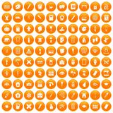 100 paint school icons set orange. 100 paint school icons set in orange circle isolated vector illustration Vector Illustration