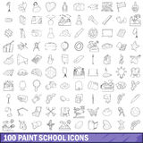 100 paint school icons set, outline style. 100 paint school icons set in outline style for any design vector illustration Stock Images