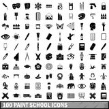 100 paint school icons set, simple style. 100 paint school icons set in simple style for any design vector illustration Stock Illustration