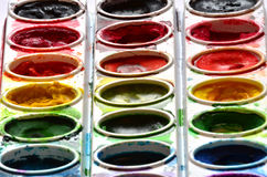 Paint Sets with Smeared Colors Stock Photography