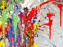 Paint smudges. Color chaos. Mixed different colors. Expressionism.  royalty free stock image