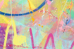 Paint spatter. Bright paint spatter on a wall horizontal Stock Photography