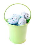 Paint Speckled Easter Eggs in Metal Pail Stock Image