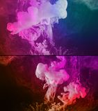 Paint spill abstract background. White paint spill flowing and swirling into a colorful liquid, abstract background Stock Photography