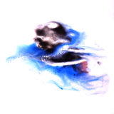 Paint splash black, blue ink stain watercolour Royalty Free Stock Photos