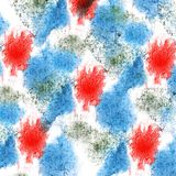 Paint splash blue, red ink blot and white abstract art brushes. Isolated stock illustration