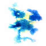 Paint splash blue, yellow ink stain watercolour Royalty Free Stock Images